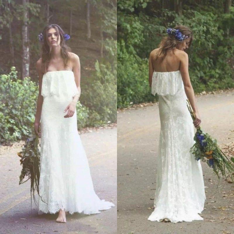 2019 robes de mariée bohémiennes style bohème style campagnard avec corsage épaule encolure volée équipée d'une ligne de balayage en dentelle douce