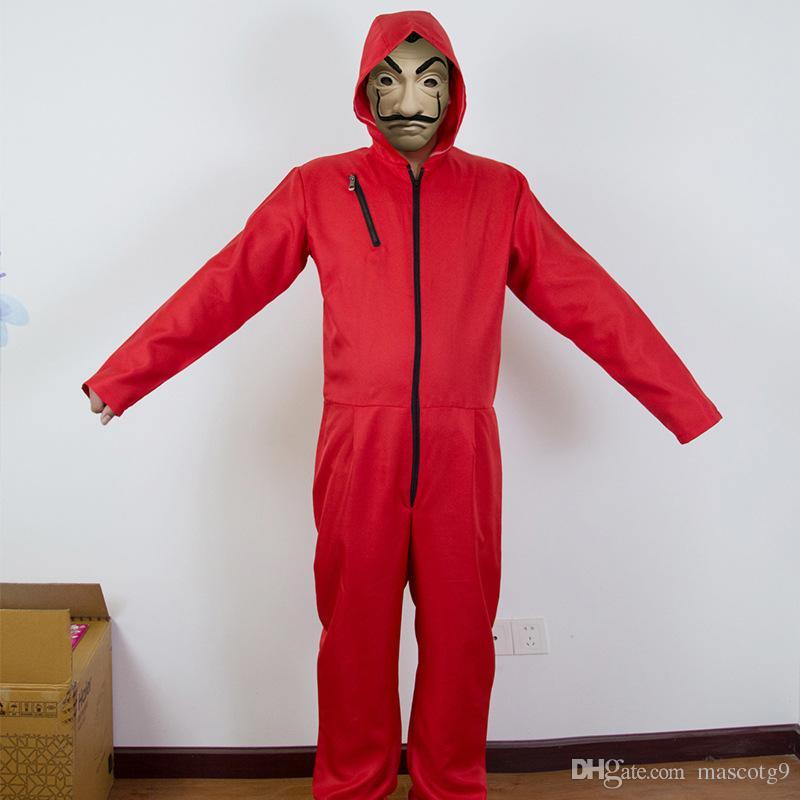 venta al por mayor 2018 Nueva La Casa De Papel Salvador Dali Cosplay Disfraz Salvador Dali Cosplay Película Máscara Disfraz S-2XL Envío gratis