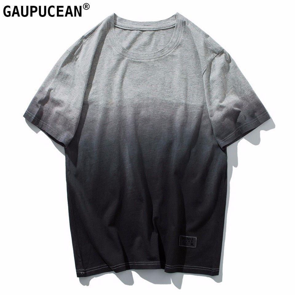 Men T Shirt 100% Cotton Gradient Color Fashion Tie Dye O-neck Soft Tee Summer Grey Male Round Neck Man Short Sleeve T-shirt
