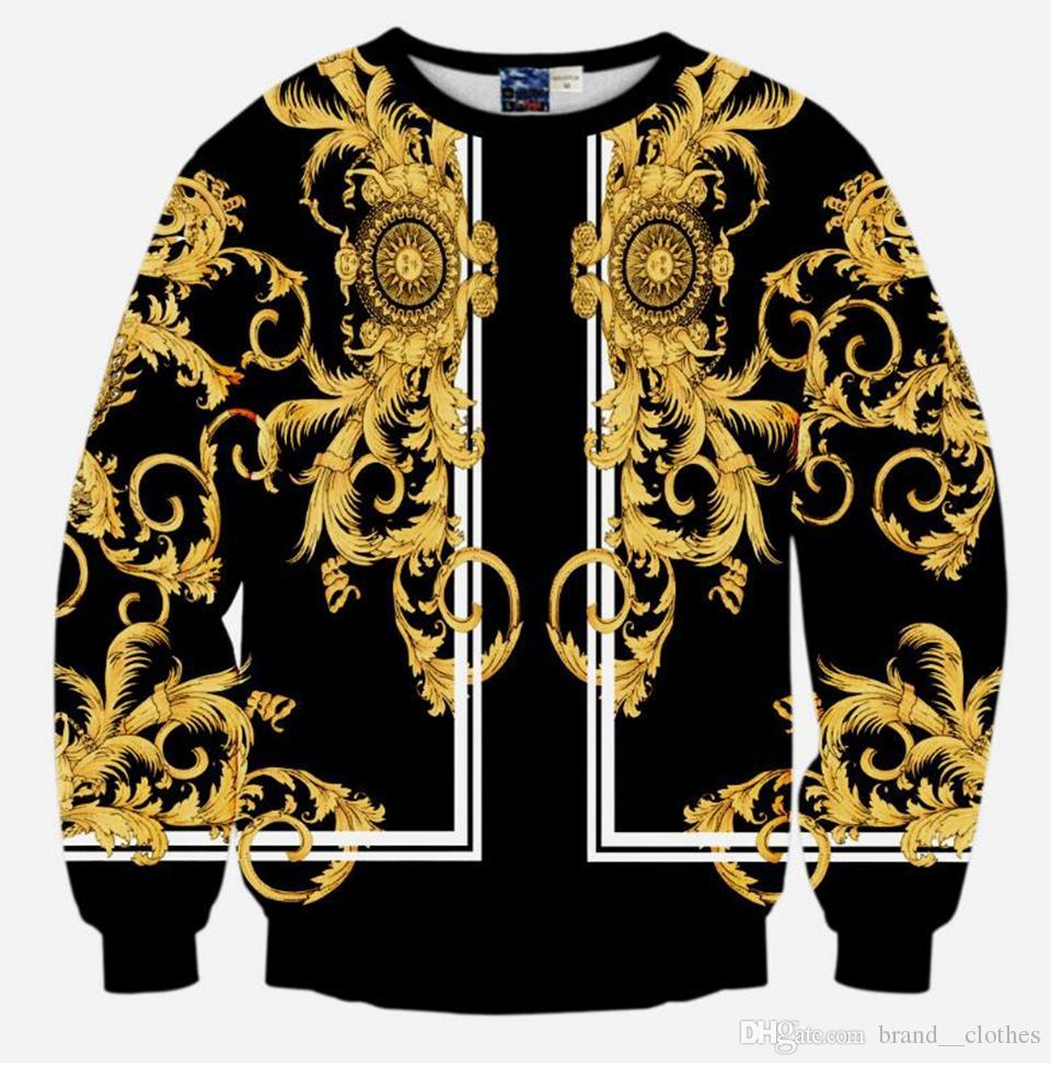 Męska europejska i amerykańska moda Nowa koreańska wersja wysokiej jakości osobowości Digital Gold Dragon Drukuj Kurtka / S-XL