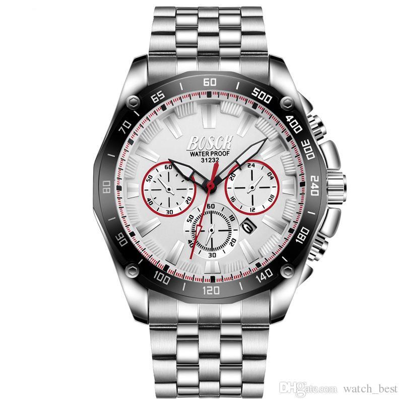 Third Eye Luxury Mens Watches Stainless Steel Calendar Big Dial Wristwatch Night Light Waterproof Silicone Strap Bisiness Men Watch
