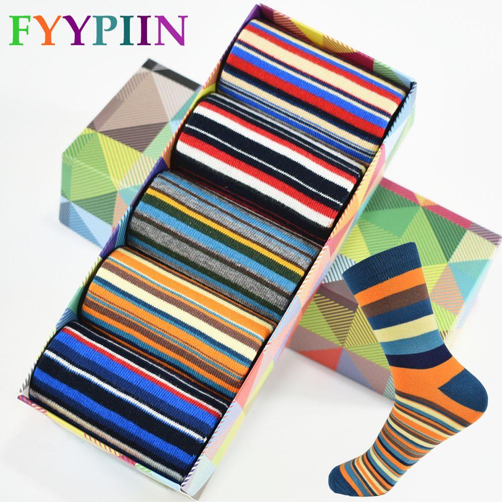 Casual Erkek Çorap Kromatik Şerit Beş Çift Çorap Adam Nihai Tasarım Giyim Moda Tasarımcısı Tarzı Ile Pamuk Hiçbir kutu