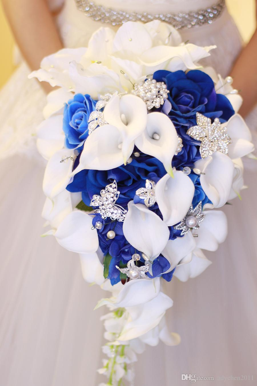 wedding bouquets royal blue flowers waterfall real touch lily beads  crystals bling roses satin bridal bouquet colors purple yellow fuchsia  satin