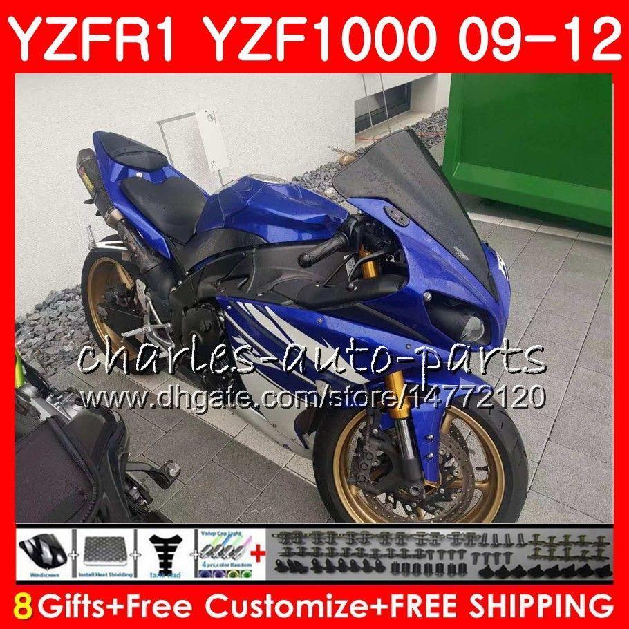 Iniezione per YAMAHA YZF 1000 R 1 YZF-R1 Corpo blu di fabbrica 85HM0 YZF1000 YZFR1 09 10 11 12 YZF R1 2009 2010 2011 2012 Kit carena + faro