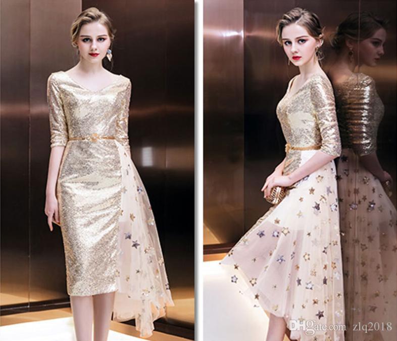 2018 vestidos de noche con cuello en V de Elegancia 1/2 mangas lentejuelas divididas conjunta corto vestidos de baile más el tamaño