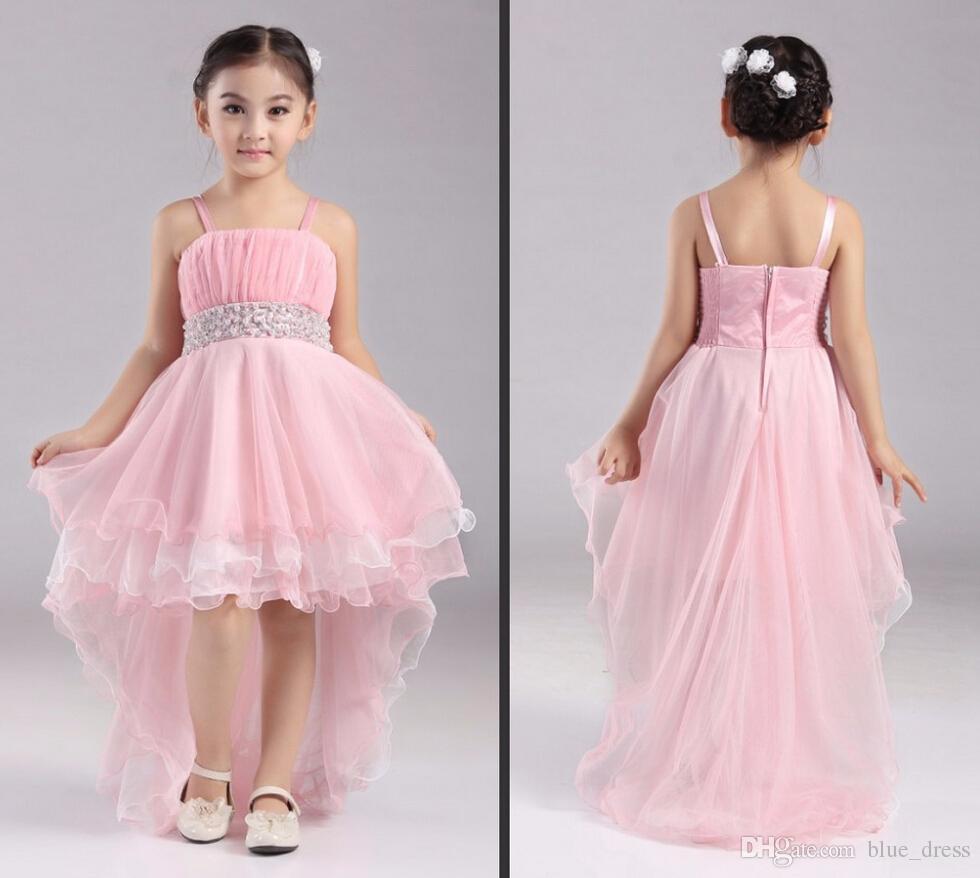 2020 Cute Pink Flower Девочка Платье Высокой Низкая органзы Дешевого Pearl Пояс Pleats Бич Спагетти Без бретелек Девушка Pageant платья