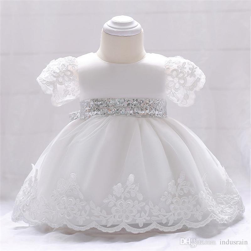 Compre Vestido De Bautizo Para La Niña De Vestir 1r Cumpleaños De Las Muchachas Infantiles 2 Años De Partido Del Bordado De Encaje Blanco Vestido De
