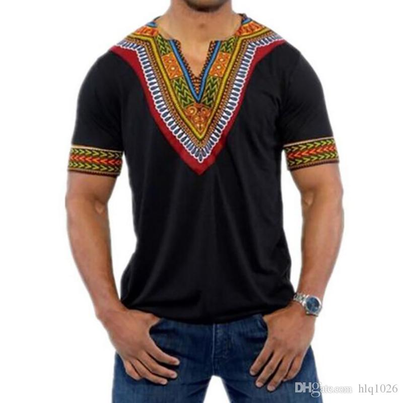 Moda V Neck Manga Curta Camiseta Homens Nova África Imprimir Dashiki T-shirt Dos Homens Casuais Hip Hop Tops Tees Roupas de África