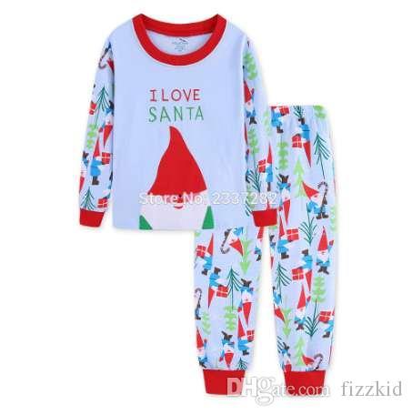 هدية عيد الميلاد الجديدة سانتا كل القطن طفل الفتيات الفتيان يحدد الاطفال بيجامة مجموعات ملابس خاصة للأطفال منامة الاطفال الملابس