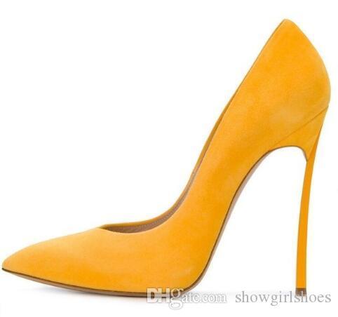 Scarpe da donna in pelle scamosciata gialle 2018 Tacco alto a punta scarpe da sera senza maniche