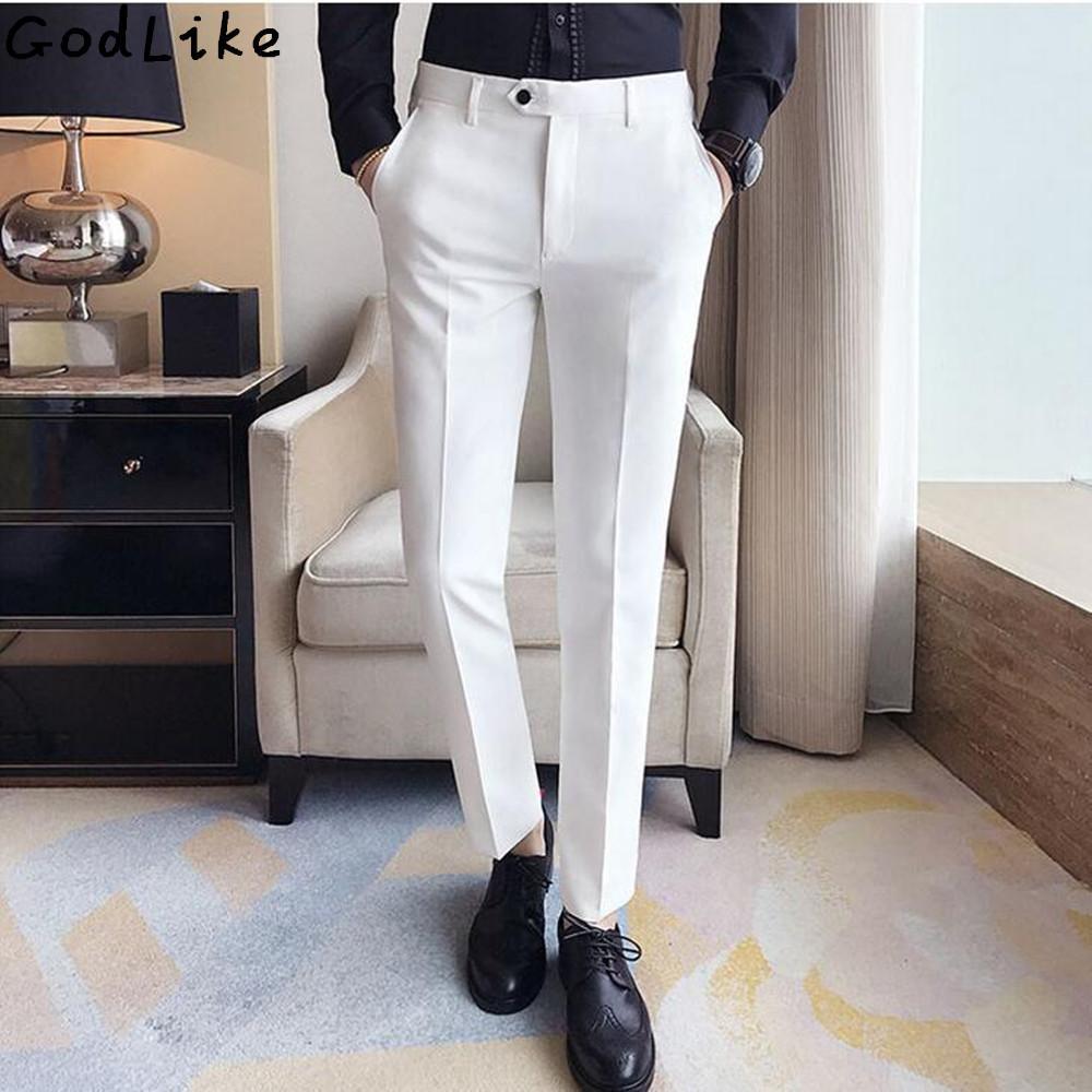 2017 otoño de negocios para hombre traje blanco formal pantalones de algodón anti wrinklepocket boda novia novio masculino de negocios pantalones casuales