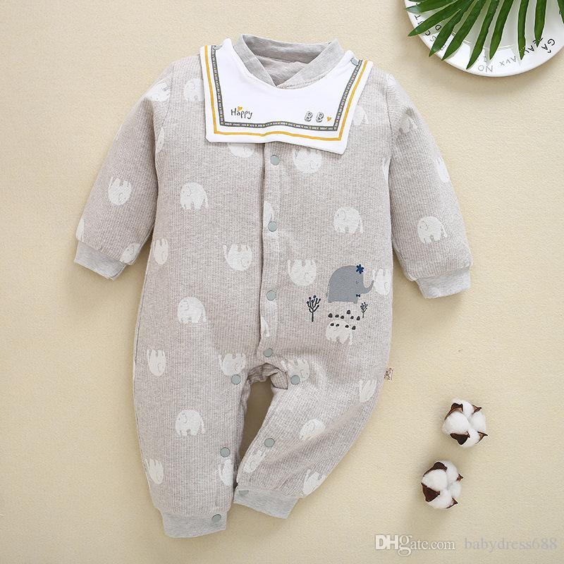 Vêtements bébé unisexe gros automne automne hiver vêtements rose petit combinaison d'éléphant barboteuse bébé barboteuses 59-80