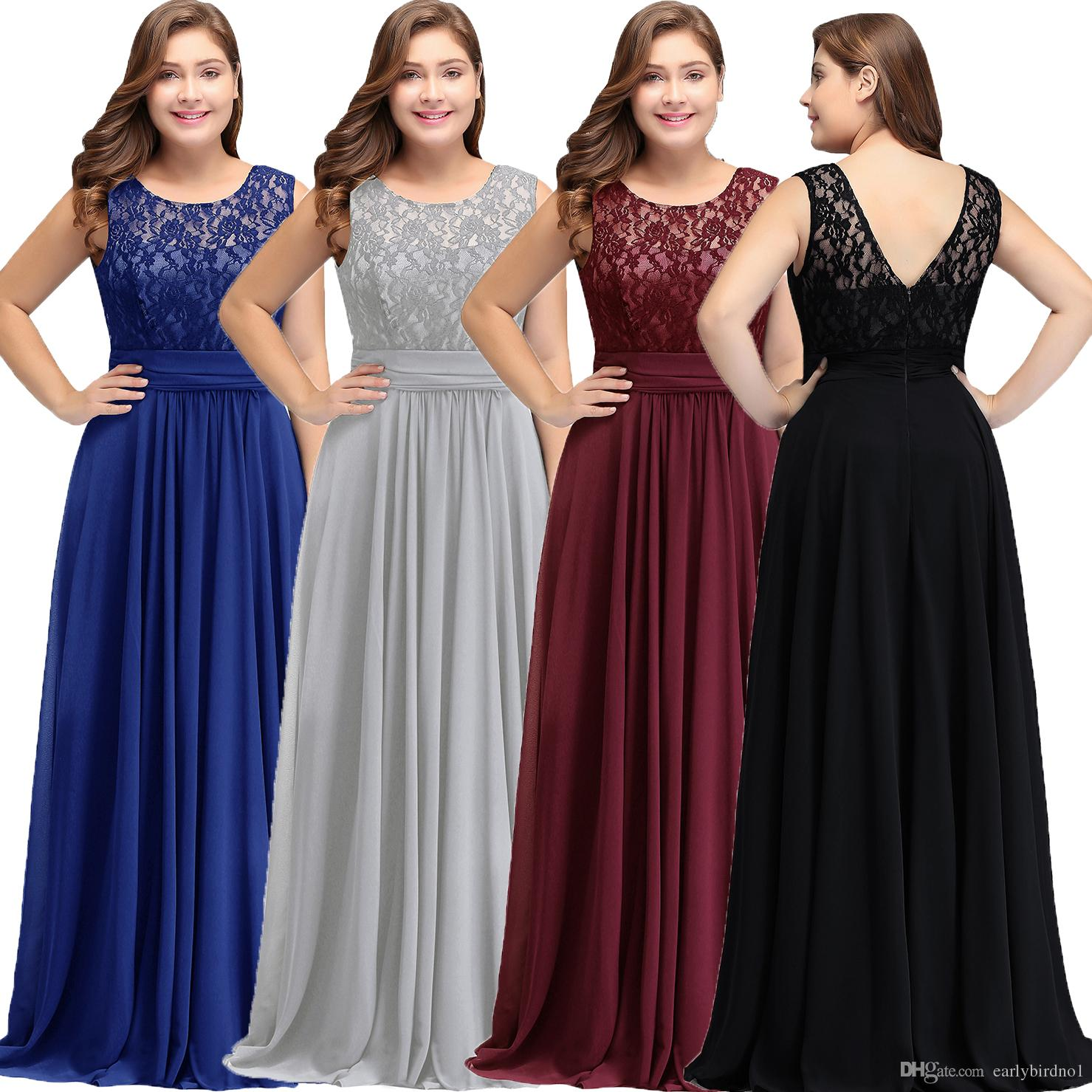 New Simple Modest Dark Navy Chiffon Bridesmaid Dresses Plus Size 2018 Cheap  Scoop Sleeveless A Line Formal Wedding Guests Party Wear CPS526 Raspberry  ...