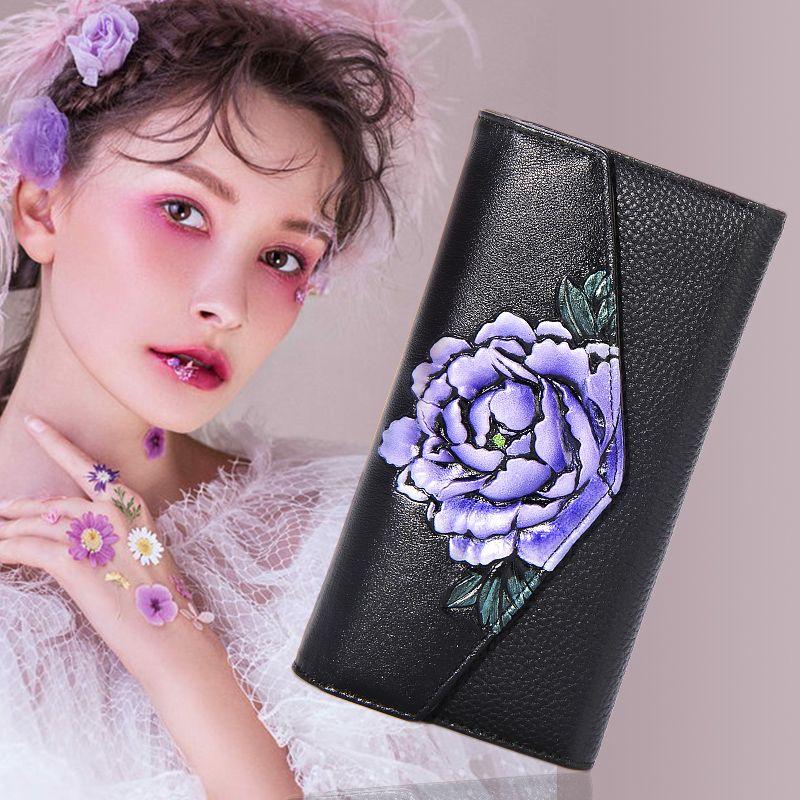 Carteira de couro 2018women's New Handmade pintado flor longo pacote de cartão multi funcional nacional vento bolsa de mão