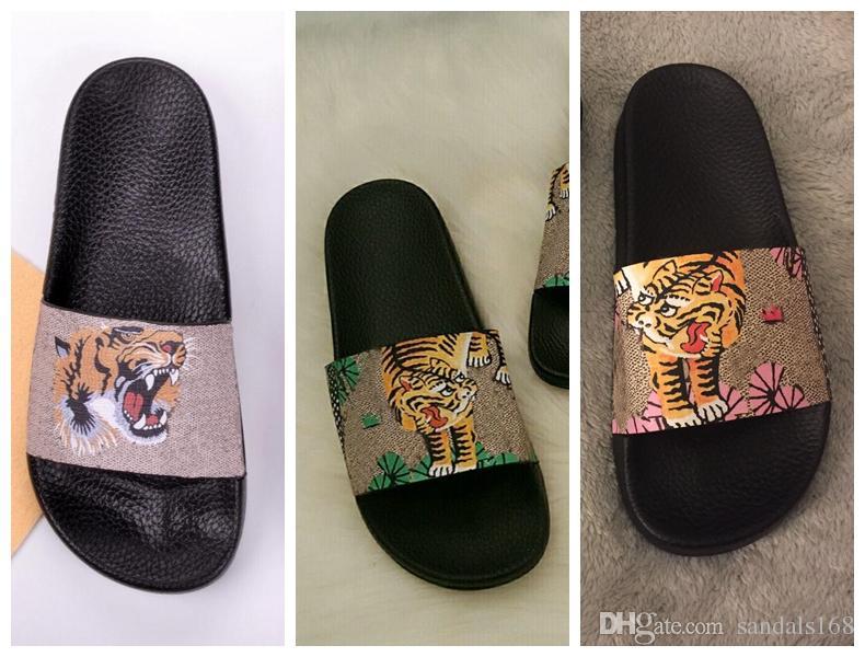 mens womens fashion tiger print rubber slide sandals flip flops boys girls causal beach flats slippers