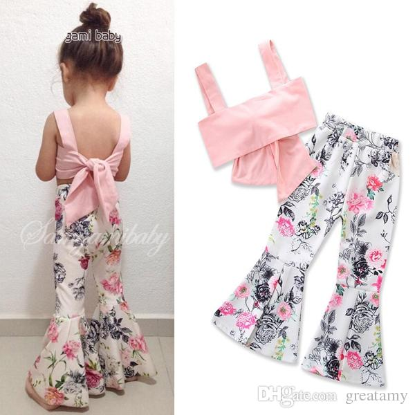 Baby girl Kids Summer clothes outfits 2piece set Big Bow Tank Tops Vest Tube Strap Shirt + Rose Floral Legging Pants bell-bottom