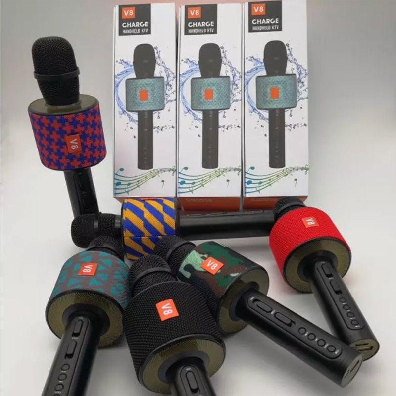 2018 Fashion KTV microphone V8 Wireless Bluetooth Loudspeaker Mic Microphone Handheld Portable Karaoke Player Free shipping