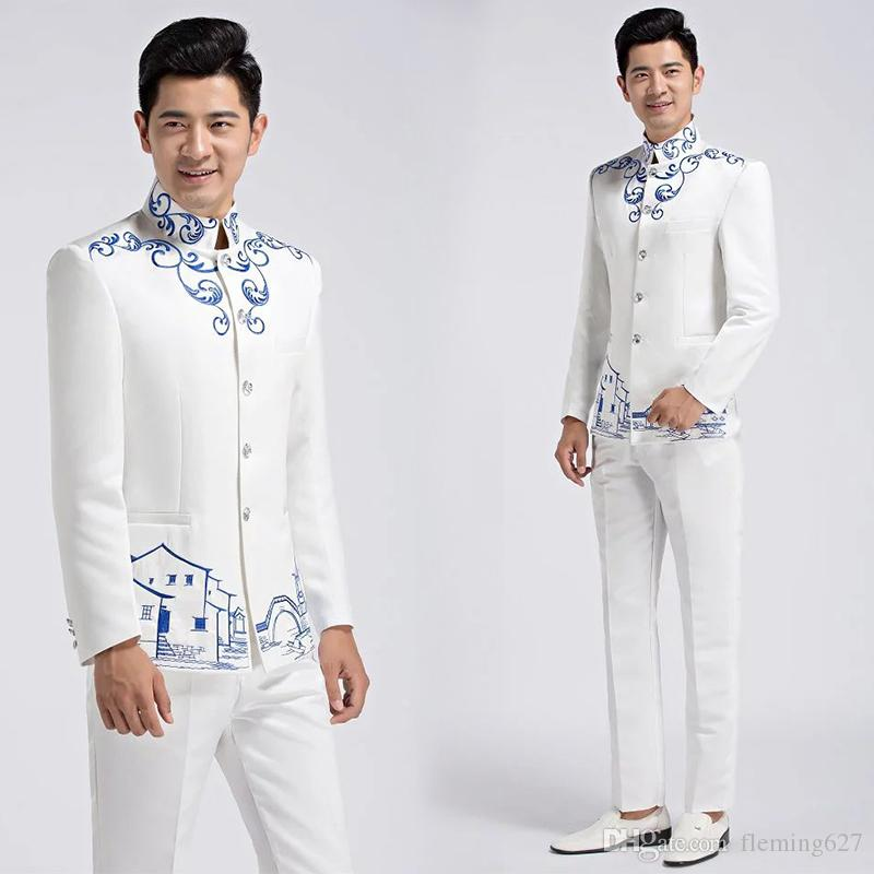 Choral Uniform fashion young man Chinese style suits Wedding Stand Collar Tang Clothing Male Zhong shan suits Jacket + trousers Tang Suits