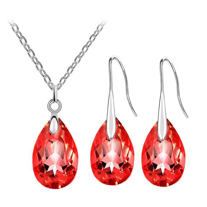Hochzeit sommer strand marke braut österreichischen kristall träne anhänger halskette ohrringe modeschmuck sets