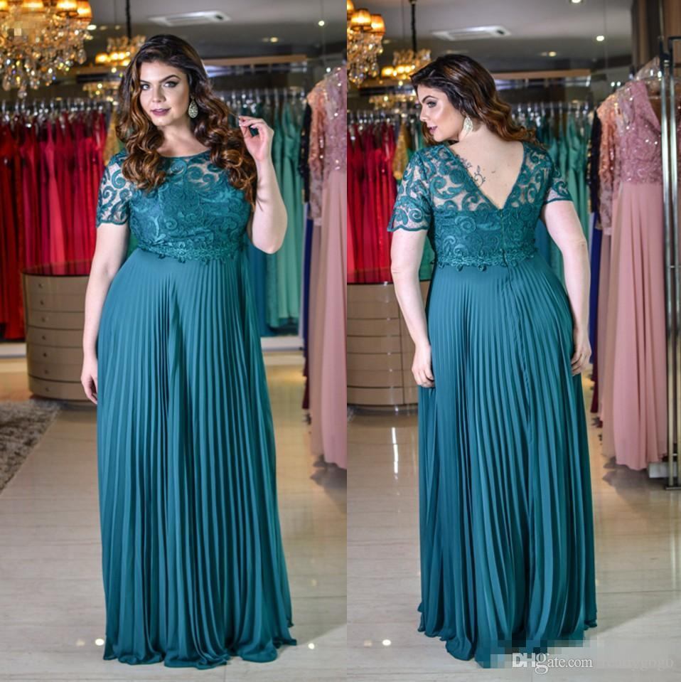 Teal Blue Lace Chiffon Plus Size Mother Of the Bride Dresses with Half Sleeve Bateau Low Back Women Formal Occasion Prom Dress