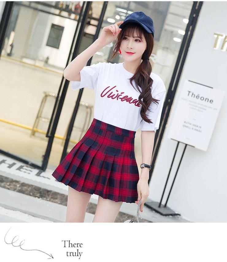Fashion Summer Skirt Women 2018 Ete Skirts Casaul Pleated Ladies Skirts High Waist Mini Skirt Female Skirt Plaid Saia Jupe Femme (14)