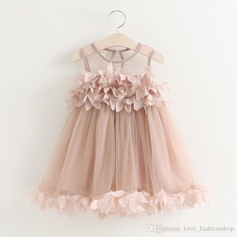 Détail enfants vêtements filles robes doux Gilet pétale princesse robe Blanc Rose 2019 Enfants Filet Net Plissé Tutu Robe Enfants vêtements de marque
