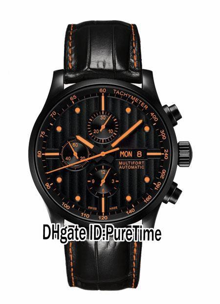 Neue Multifort Gent M005.614.36.051.22 PVD Schwarz Stahl Schwarzes Zifferblatt Orange Mark DayDate Automatische Herrenuhr Leder Orange Linie Sapphire M44a1