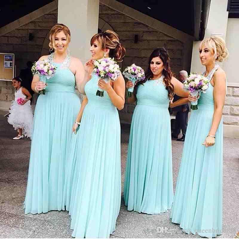 На заказ холтер шеи фрейлина платье 2018 рукавов молния назад длинный пол шифон платья невесты