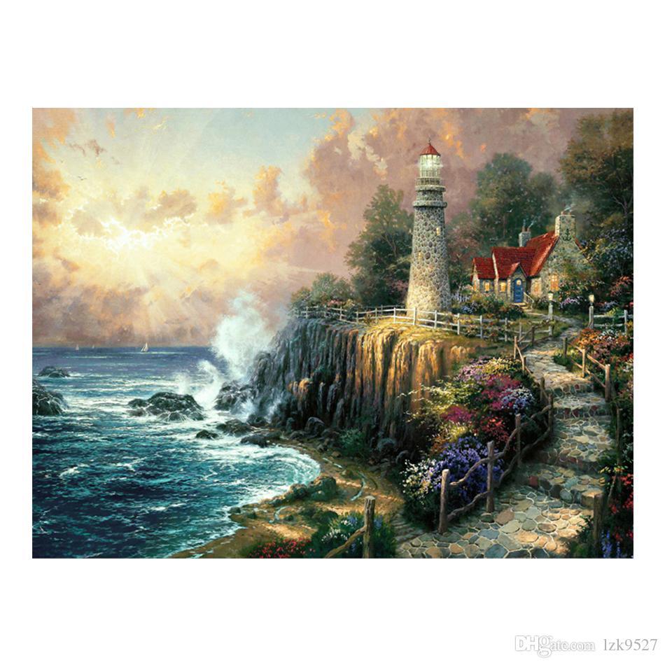 Thomas Kinkade Landschaftsölgemälde Drucke auf Leinwand Wandkunst Bild für Wohnzimmer Einrichtungsgegenstände Ungerahmt HD-12138