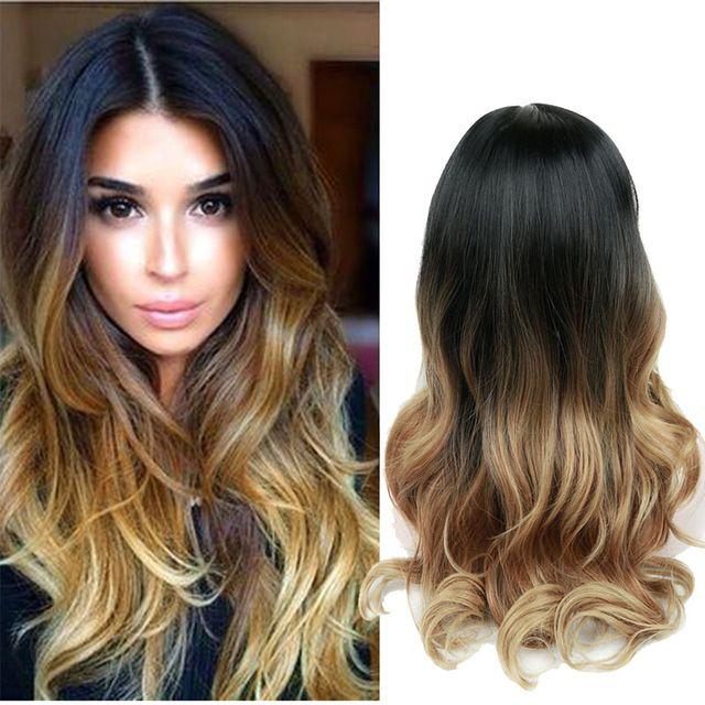 26inches largo Ombre Brown Ash Blonde Alta Densidad Temperatura peluca sintética Por Negro / blanco Mujeres sin cola ondulada peluca de pelo