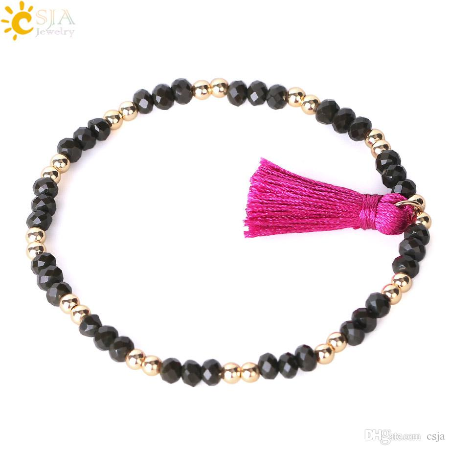 CSJA Glass Beads Charms Bracelets Elastic Rope Chain Jewelry for Women Handmade Bracelet Faceted Crystal Mixed Color Free Shipping S080