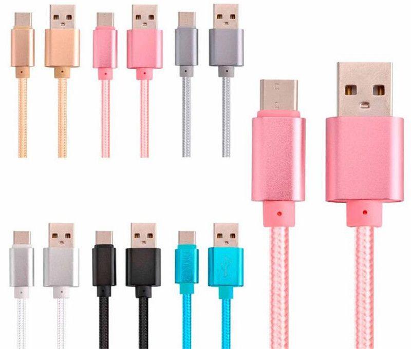 قوي مزين كابل USB 1M 2M 3M 10FT السريع عالي السرعة تهمة مايكرو USB شحن تاريخ نوع الكابل ج ج كابل USB لسامسونج S8 S9