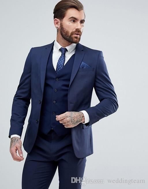 Royal Blue Mens Suits Slim Fit Padrinos de boda Wedding Suxedos para hombres con solapas en punta Blazers Side Vent Two Buttons Traje formal (Chaqueta + Chaleco + Pantalones)