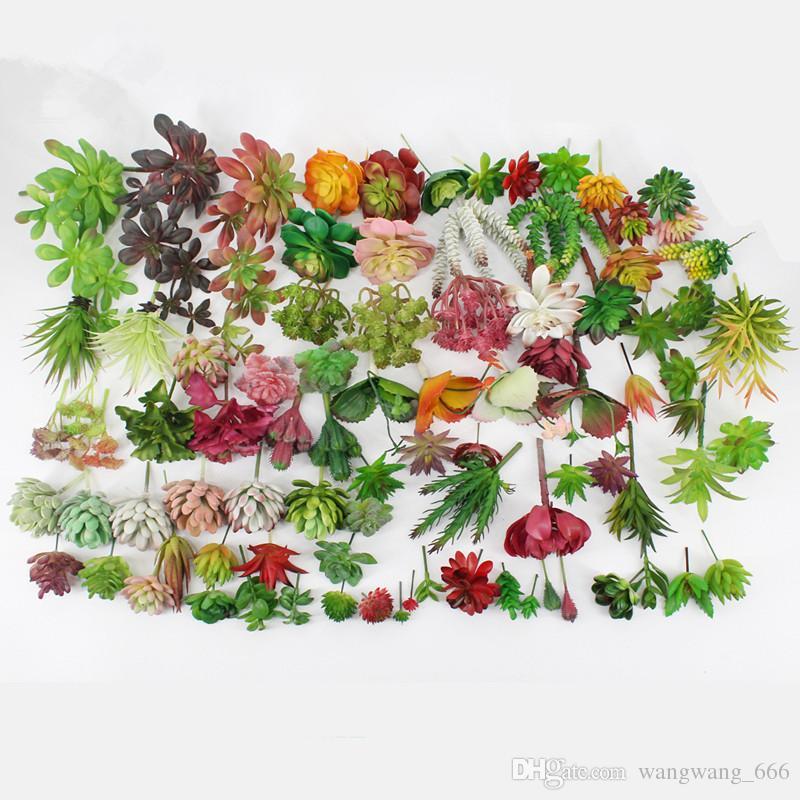 200pcs Artificial Plants With Vase Bonsai Tropical Cactus Fake Succulent Plant Potted Office Home Decorative Flower Pot free shipping