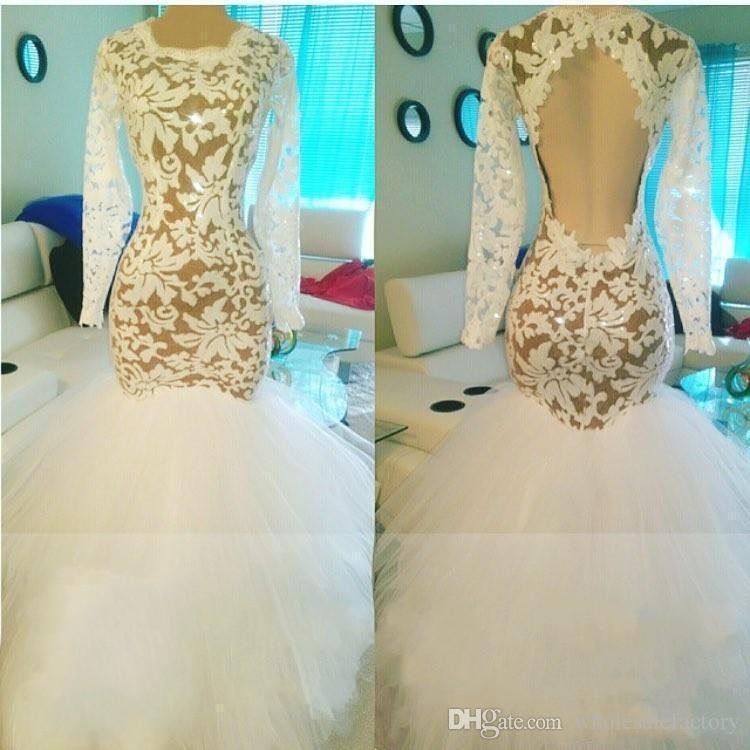 2018 White African Lace Backless Long Sleeves Mermaid Evening Dresses Tulle Sweep Train Red Carpet Pageant Prom Dresses