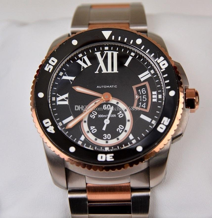 Envío gratis a estrenar Calibre de Diver movimiento mecánico automático reloj para hombres 18K Rose oro w7100054 42mm relojes de pulsera para hombre