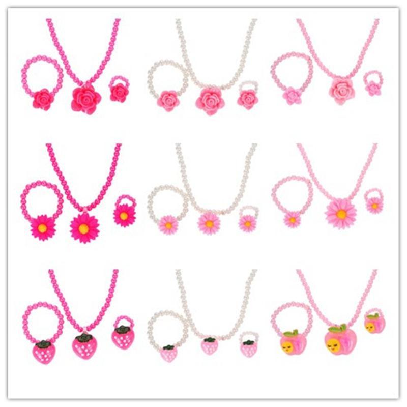 Mode Simulierte Perlen Kind Kid Schmuck Sets Harz Blume Erdbeere Apple Anhänger Halskette Armband Ring Geschenk Für Kind