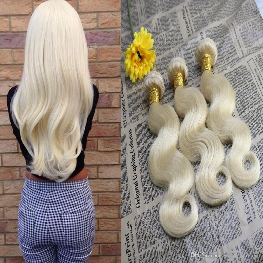 100% Unprocessed Virgin European Human Hair Extensions Body Wave Remy Hair Bundles #613 Blonde Hair Weft Weave 100g/bundle