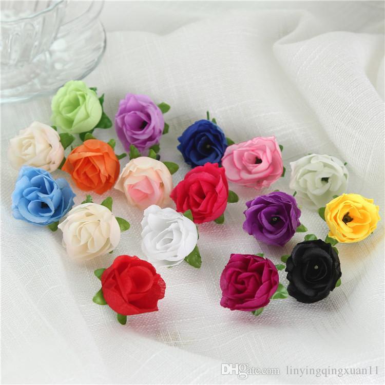 300PCS / pack Fiori freschi e artificiali piccolo germoglio del tè Simulazione piccolo tè rosa fiore di seta decorazione testa fiore accessori fai da te