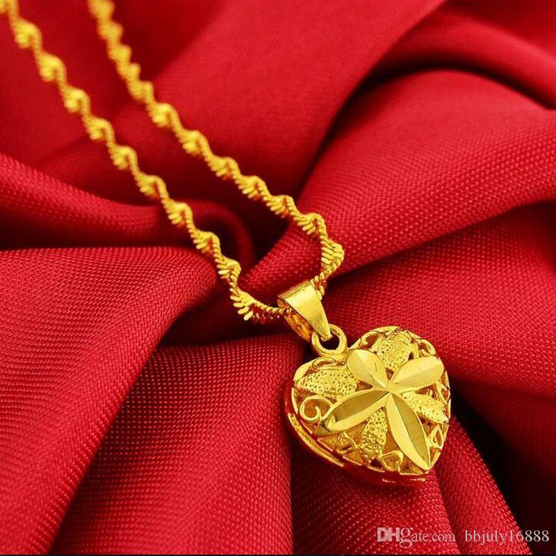 الجملة 24 كيلو مطلية بالذهب قلادة القلب جميل مع قلادة سلسلة موجة 2mm للنساء ، وحرية الملاحة