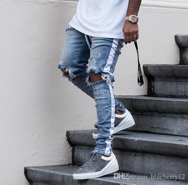 New Mens Hip Hop jeans rasgados 2018 Destruído Buraco magro Biker Jeans listra branca costura Zipper Decorado Preto Light Blue Denim Pants