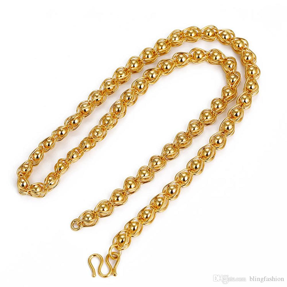 Mens Necklace Solid Beads Chain Choker Accessories 18k Yellow Gold Filled Classic Hip Hop Mens Jewelry Gift