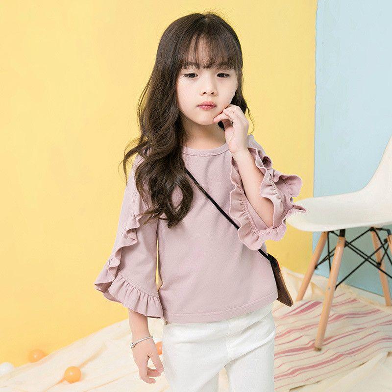 Nueva llegada, otoño e invierno, niñas camiseta, mangas largas con volantes, top de moda para niños.
