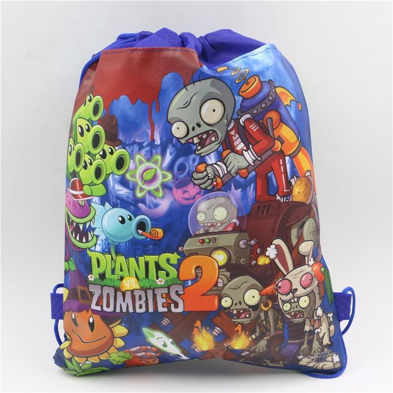 12pcs 4 색 식물 대 좀비 장식 어린이 만화 배낭 생일 비 짠 직물 Drawstring 파티 가방 용품