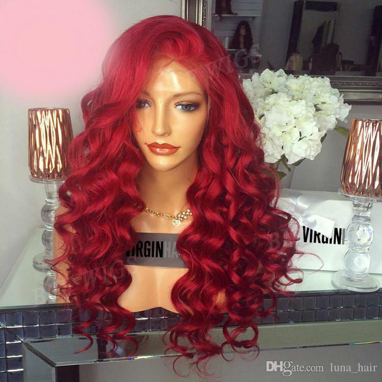 Nueva llegada remy virginal del pelo humano puro crudo rojo colorido onda larga del cuerpo lleno del cordón de seda superior peluca para las mujeres