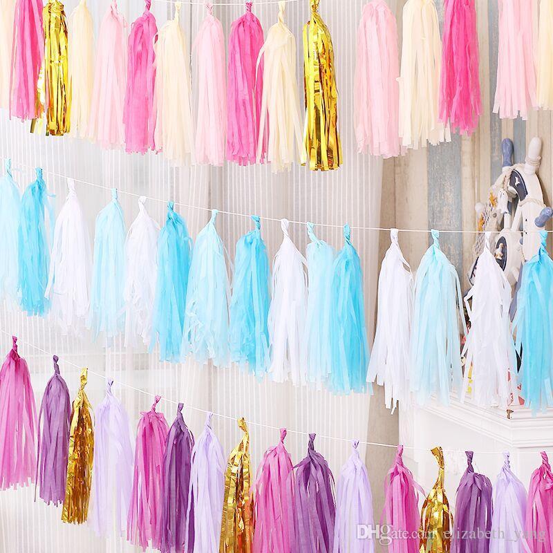 5pcs / lot de papier métallique Mint Tassel Garland Fringe de fête d'anniversaire de mariage Décor Backdrop Ballons de bannière Tails Sexe Reveal Cadeaux