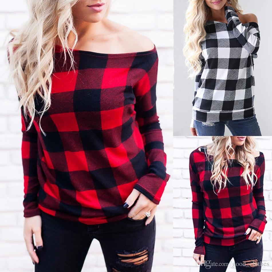 Women Off Shoulder Plaid Tops Long Sleeve Shirt Casual Blouse Loose T-shirt Red Buffalo Checkered Shirts 2 Colors OOA4146