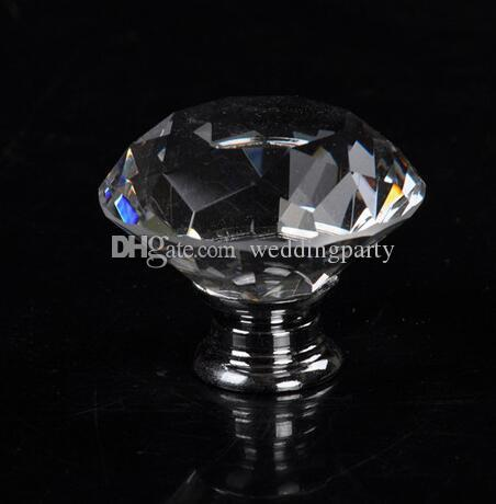 40mm Forma de Diamante Claro Cristal Puxar Lidar Com Armário Armário Gaveta Da Porta Do Armário de Móveis