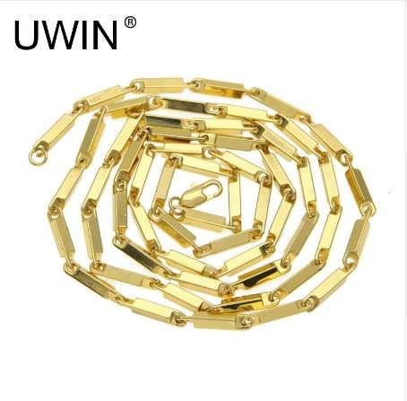 UWIN Hommes Femmes Hip Hop Carré Chaîne 36 pouces En Acier Inoxydable Or Couleur Boîte Lien Collier De Mode Punk Bijoux