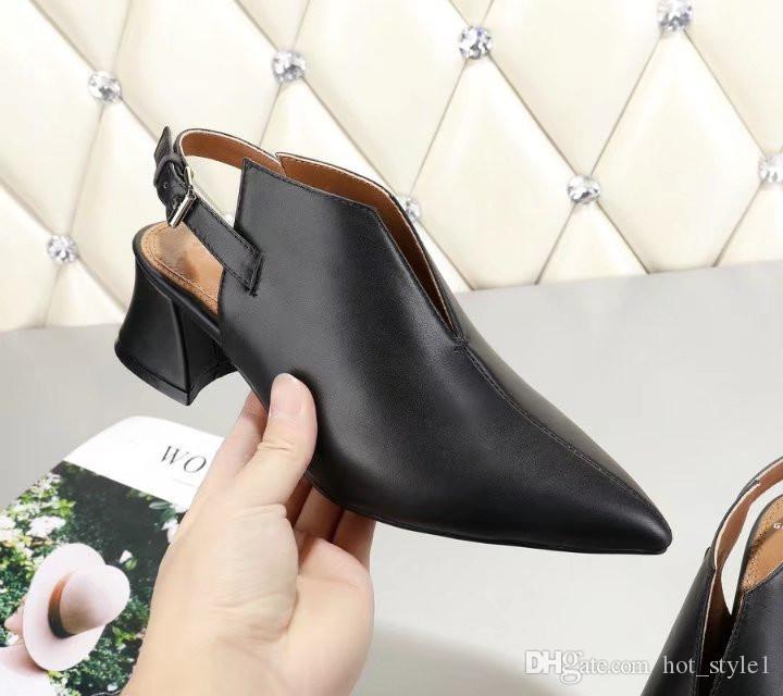 Nouveau Style Bout Pointu En Cuir Chunky Talon Chaussures Simples Filles Rétro Simple Bouche Peu Profonde Chaton Talon Livraison Gratuite